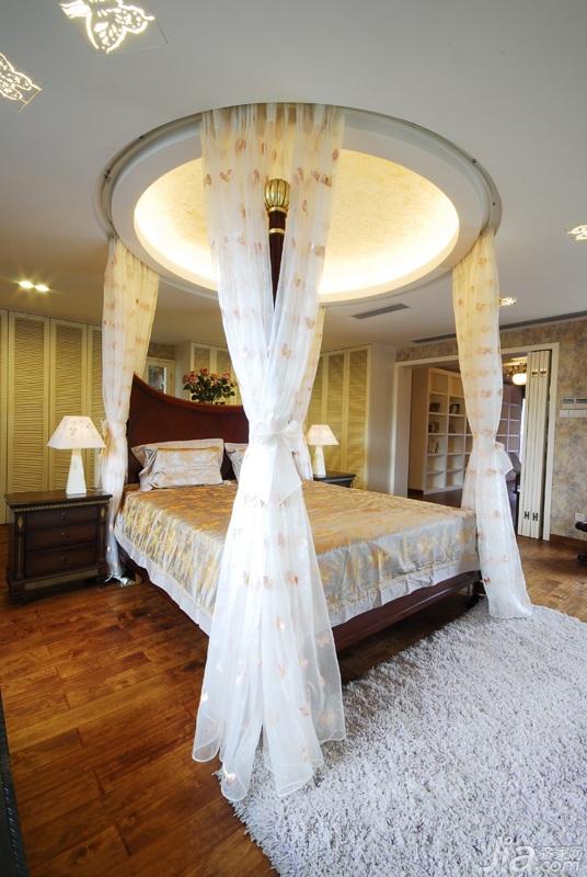 田园风格三居室唯美富裕型140平米以上卧室床图片