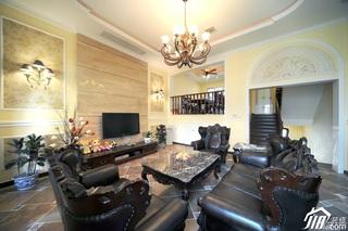 欧式风格别墅大气豪华型140平米以上客厅电视背景墙沙发效果图