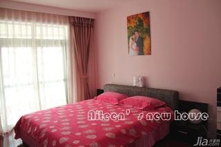 简约风格三居室温馨富裕型卧室床婚房家装图片