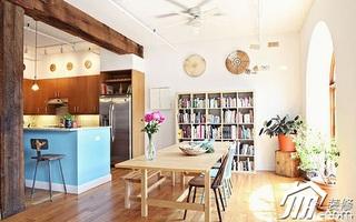简约风格挑高户型小清新经济型餐厅背景墙餐桌图片