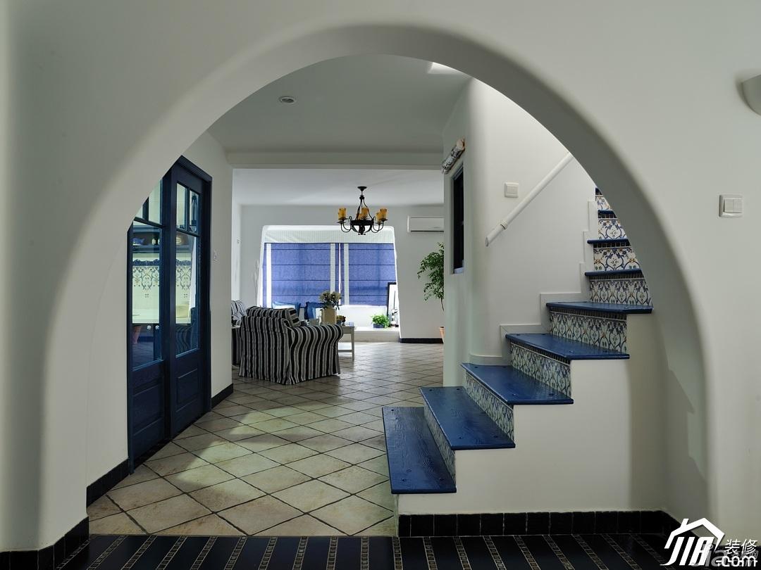 地中海风格复式唯美蓝色经济型楼梯沙发图片
