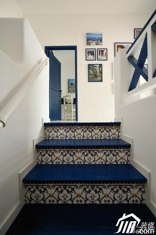 地中海风格复式唯美蓝色经济型楼梯设计