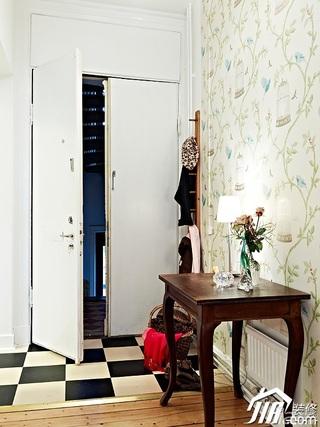 北欧风格公寓白色经济型90平米门厅壁纸图片