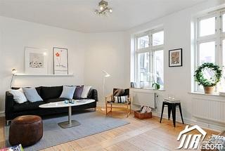北欧风格小户型小清新白色经济型50平米客厅沙发背景墙沙发效果图
