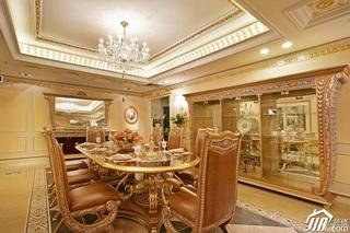 欧式风格别墅奢华暖色调豪华型餐厅餐桌效果图