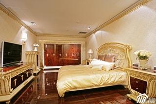 欧式风格别墅奢华暖色调豪华型卧室床效果图