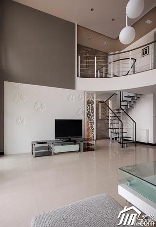 简约风格复式简洁白色经济型客厅电视背景墙电视柜效果图