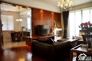 混搭风格三居室稳重富裕型130平米客厅沙发效果图