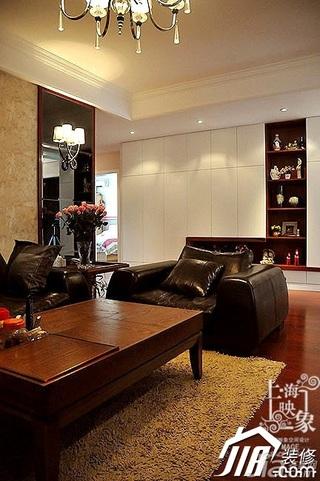 混搭风格三居室稳重黑色富裕型130平米客厅沙发效果图