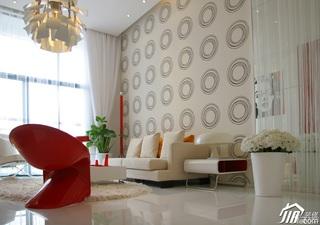 简约风格复式大气红色经济型客厅背景墙沙发婚房平面图