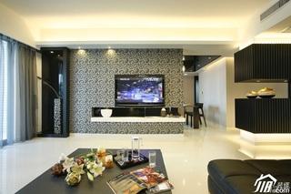 简约风格公寓稳重冷色调豪华型130平米客厅电视背景墙沙发效果图