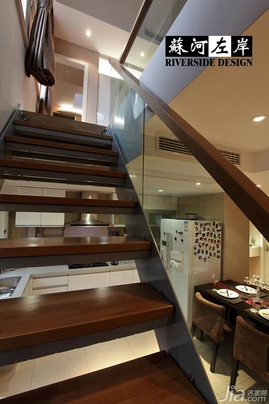 简约风格复式时尚富裕型140平米以上餐厅楼梯餐桌效果图
