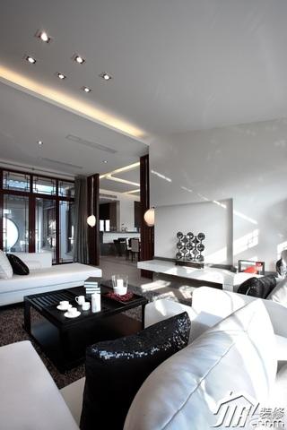 中式风格别墅大气白色富裕型客厅沙发效果图