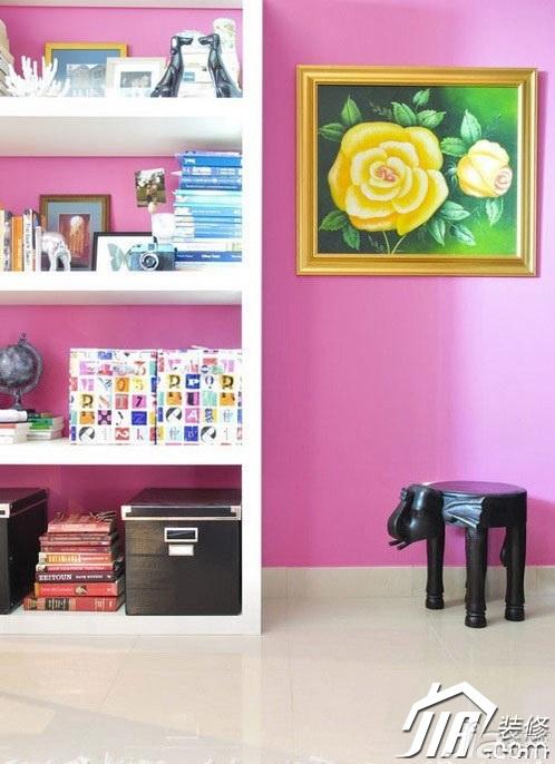 简约风格公寓粉色经济型80平米书房书架图片