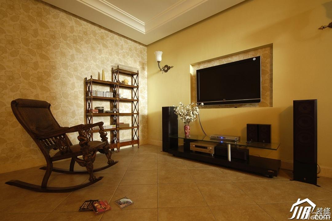 欧式风格别墅古典暖色调豪华型140平米以上客厅电视背景墙电视柜图片