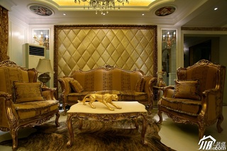 欧式风格奢华暖色调豪华型130平米客厅沙发效果图