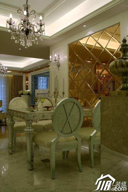 欧式风格奢华豪华型120平米餐厅背景墙灯具图片