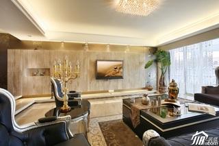 欧式风格公寓豪华型客厅电视背景墙沙发图片
