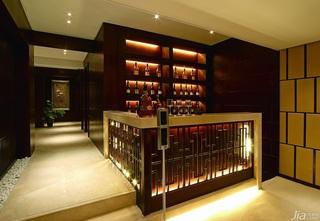 中式风格复式原木色豪华型140平米以上过道酒架图片