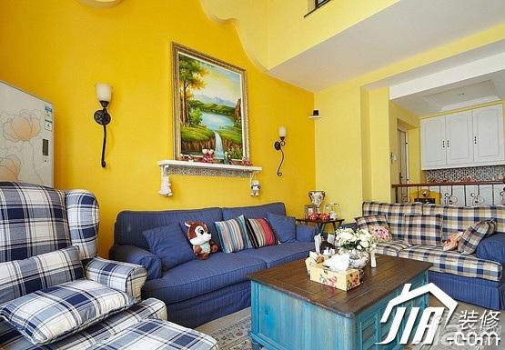 地中海风格复式温馨经济型120平米客厅沙发背景墙沙发图片