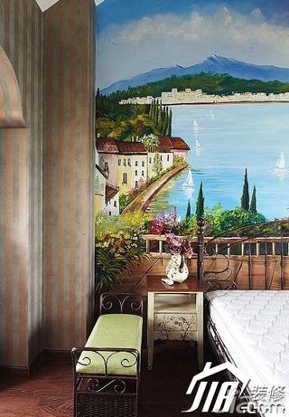 地中海风格复式温馨经济型120平米卧室卧室背景墙电视柜效果图