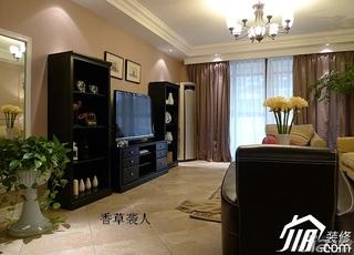 美式乡村风格公寓舒适富裕型120平米客厅电视背景墙电视柜效果图