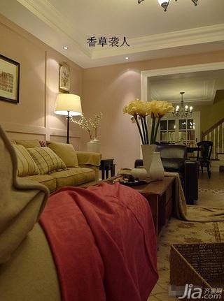 美式乡村风格公寓舒适富裕型120平米客厅灯具效果图