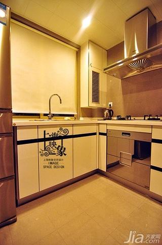 美式风格二居室大气黑白富裕型厨房橱柜图片
