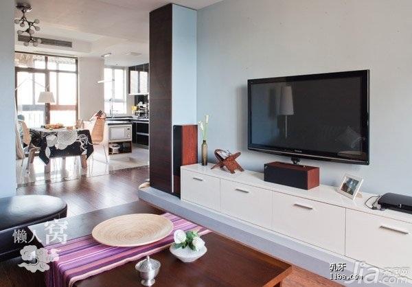 宜家风格二居室简洁富裕型90平米客厅电视柜效果图