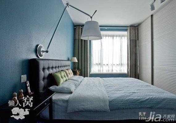 宜家风格二居室舒适富裕型90平米卧室床图片