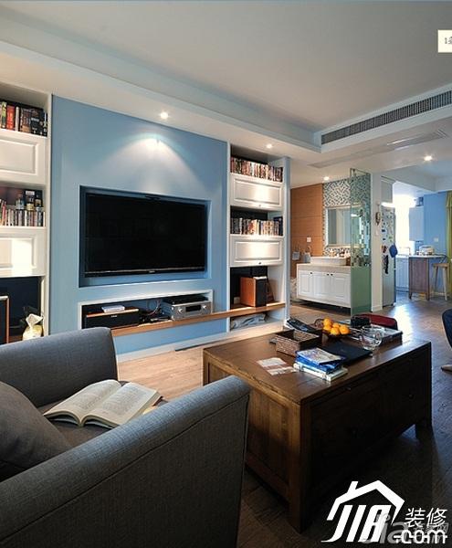 简约风格公寓简洁富裕型120平米客厅背景墙电视柜图片