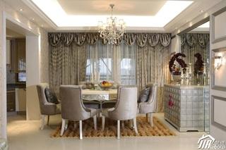 欧式风格三居室大气白色富裕型120平米餐厅餐桌效果图