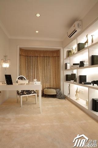 欧式风格三居室大气白色富裕型120平米书房书桌效果图
