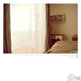 日式风格公寓经济型卧室窗帘效果图