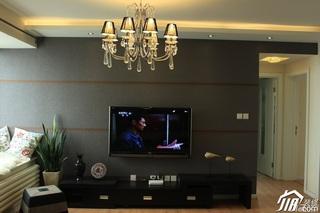简约风格公寓经济型80平米客厅电视背景墙灯具效果图