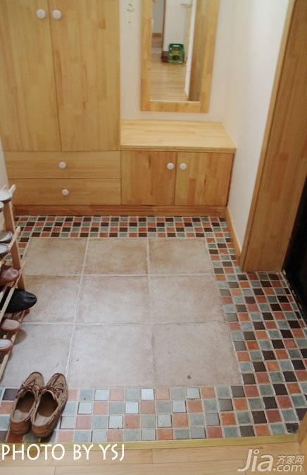 田园风格公寓小清新经济型80平米玄关鞋柜图片