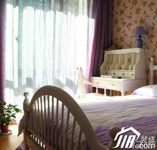 田园风格公寓5-10万90平米卧室床效果图