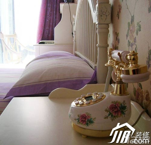 田园风格公寓5-10万90平米卧室床头柜图片
