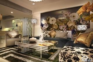 混搭风格二居室奢华冷色调豪华型110平米客厅沙发效果图