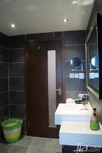 日式风格三居室温馨暖色调富裕型90平米卫生间洗手台效果图