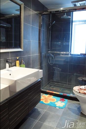 日式风格三居室温馨暖色调富裕型90平米卫生间洗手台图片