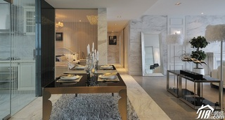 欧式风格四房大气白色富裕型餐厅餐桌效果图