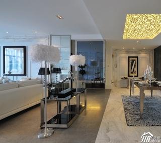 欧式风格四房大气白色富裕型地毯效果图