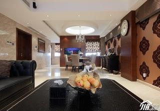 简约风格复式稳重白色豪华型客厅背景墙沙发效果图