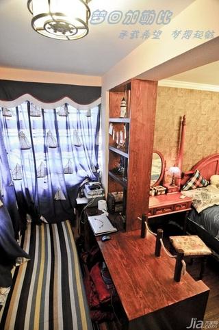 地中海风格小户型富裕型80平米飘窗书桌效果图