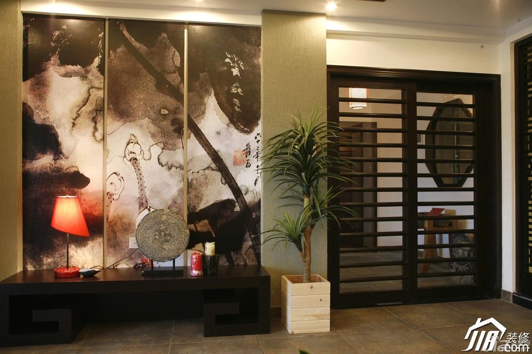 中式风格别墅富裕型客厅背景墙装修图片