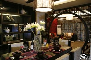 中式风格别墅富裕型餐厅隔断餐桌效果图