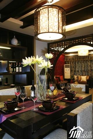 中式风格别墅富裕型隔断餐桌效果图