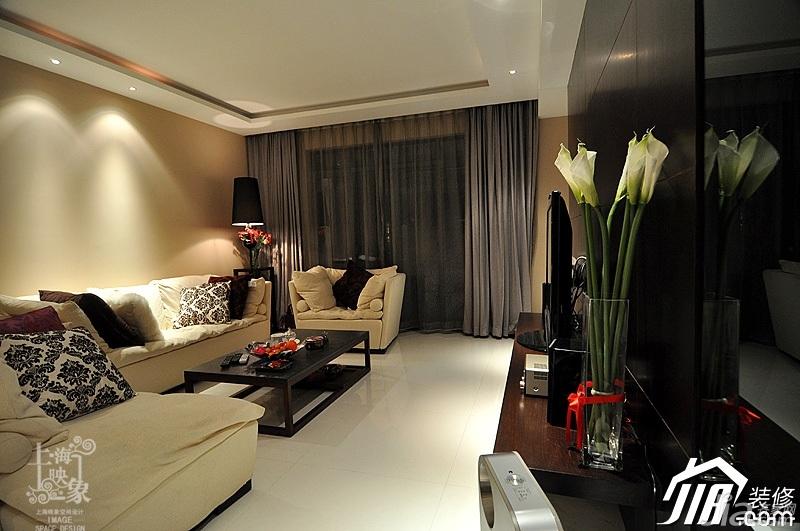 简约风格三居室时尚富裕型130平米客厅电视背景墙沙发白领设计图纸