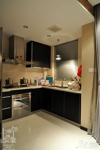 简约风格三居室时尚原木色富裕型130平米厨房橱柜白领家装图片